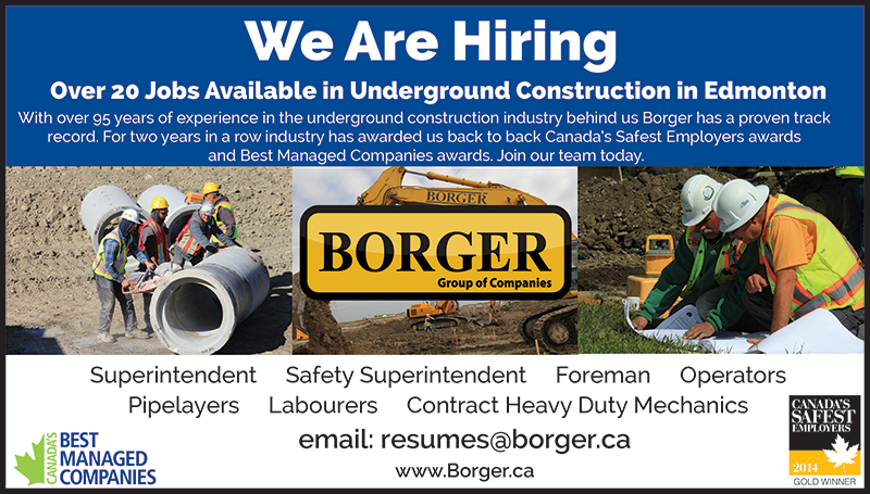 BORGER Edmonton construction jobs